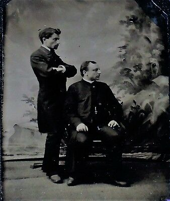 Vintage 1/6th Plate Tintype of  Two Men in Interesting Sidewise Pose