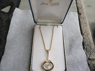 Trifari 17 Jewels Wind Up Necklace Pendant Watch with the Original Case