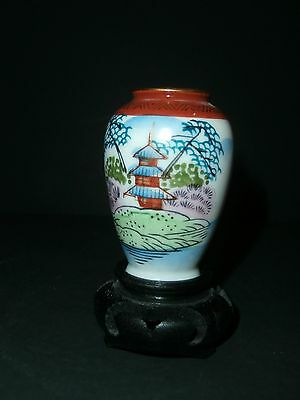 """Hand Painted Japanese Miniature Vase With Temple design 2-1/2""""With Stand"""