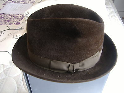 Vintage Brown Felt Trilby by Christys' London