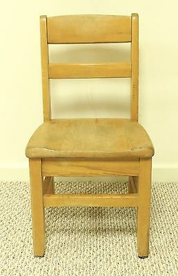 Antique Vtg Solid Wood Wooden Child's School Desk Chair