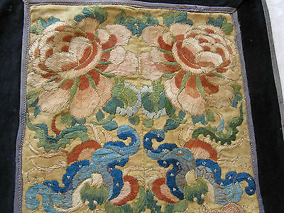 Antique Chinese Silk Embroidered Textile Panel Sleeve Band Pair