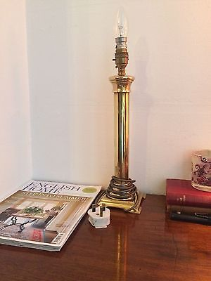 Vintage Brass Thick Column Table Lamp