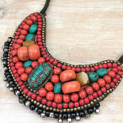 Unique African Boho Tribal Ethnic Vintage Statement Necklace Coral Turquoise