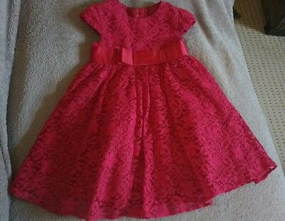 George Baby Girls Deep Red Occasions Dress.party Wedding. 9-12 Months.