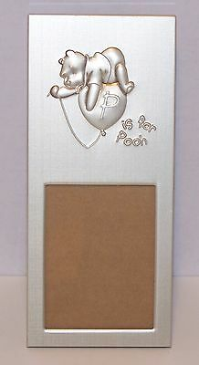"""New DISNEY Brushed Silver PHOTO Picture FRAME w/Easel WINNIE POOH """"P is for POOH"""