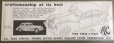 Original, Mounted Advertisement from 1955,  for the AC Two Litre!