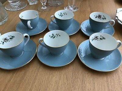 royal doulton rose elegans X6 Coffee Expresso Cups And Saucers