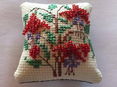 Mini embroidered and beaded fuschia pincushion