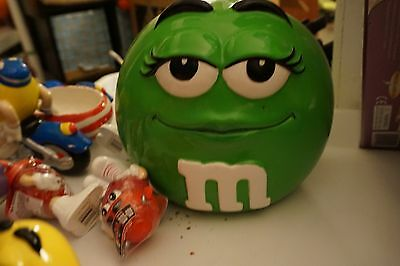 M&M Green Candy Jar / Cookie Jar (ceramic)