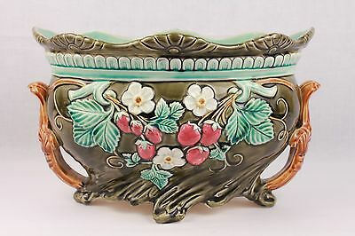 RARE SWEET ANTIQUE ART NOUVEAU FRENCH ONNAING MAJOLICA ROSE CACHE POT LATE1800's