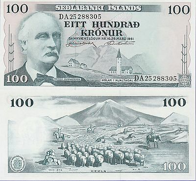 Iceland 100 Kronur Banknote,29.3.1961 Uncirculated Condition Cat#44-A-8305