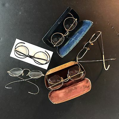 5 pair antique spectacles eyeglasses bausch lomb shuron 12K gold filled