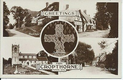 CROPTHORNE Early Worcestershire Multi View RP Postcard