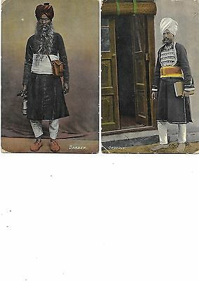 INDIA Lot 2 Early Ethnic Postcard Barber Orderly Workers