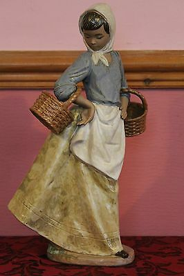 Large Coloured Early Nao By Lladro Figure Of A Peasant Girl Carrying Baskets
