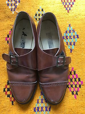 vintage Retro buckled brogues shoes brown 40 uk7