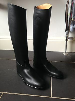 Regent Long Leather Riding Boots Size 8 Pull On