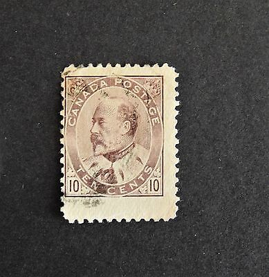 Canada #93 Ten Cent Brown Lilac 1903 King Edward VII Fine Used OVER-SIZED