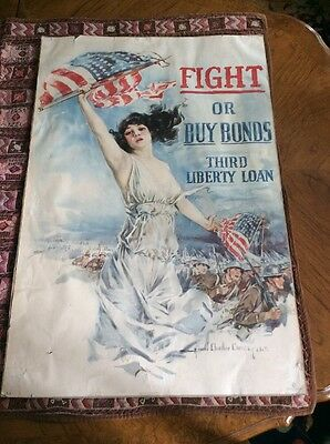 WW I Original 1917 Liberty Bond Poster Fight or Buy  Howard Chandler Christy