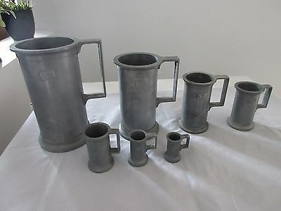 Set of 7 Antique Peltrato Italian Pewter Bar Measures