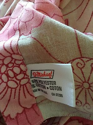 Vintage 1970S Pink & White Floral St Michael M&S Double Sheet