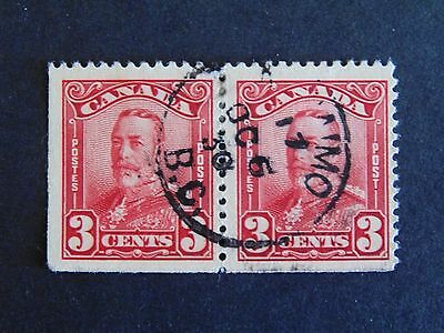 Canada #151 3¢ Carmine Red  King George V 1928 Scroll Issue  Fine Used Pair CDS