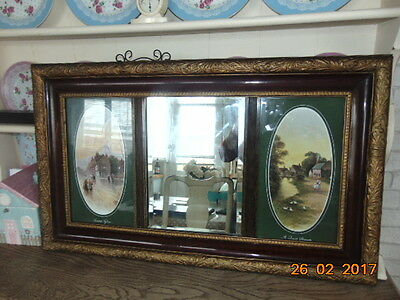Regency  Beveled  Mirror In Gilt Gold  Heavy Frame With Two Prints Each Side 34