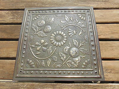 """Art & Crafts Copper Plaque Of Flowers And Fruit 8"""" X 8"""""""