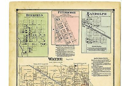 1874 Map of Wayne, Indiana, with family names, from Atlas of Randolph County