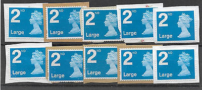 10 GB Unfranked 2nd class large Security Machin stamps on paper.