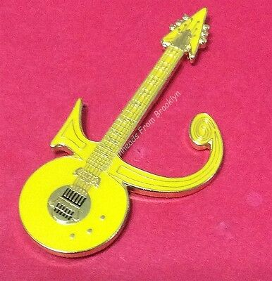 Prince Love Symbol - Yellow Guitar Tribute Pin