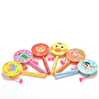 Rattle Drum Cartoon Baby Kid Percussion  Educational Musical Instrument WH