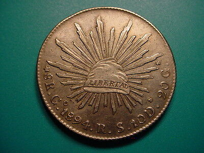 Mexico~Silver 1894 Go RS 8-Reales in Very Nice Condition!