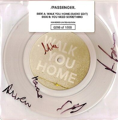 """Passenger - Walk You Home - 1500 No'd  7"""" - Sealed + Fully Signed Including Mike"""
