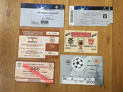 TICKET 1991/92 Benfica v Arsenal Champions League (Brown Edge)