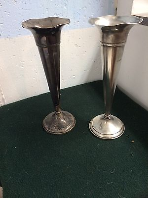 """Preisner Sterling Silver Weighted 10"""" High Trumpet Vases Set Of Two"""