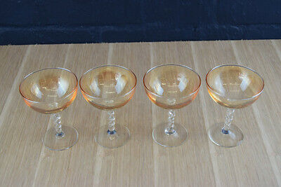 4 X Vintage 1930S Irredescent Amber Champagne Saucers Glasses With Twist Stems