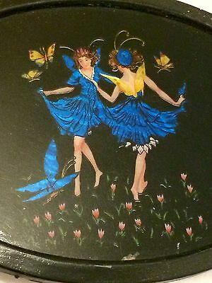 Finest Antique Dancing Folklore Fairies Butterfly Wing Oval Picture: Germany