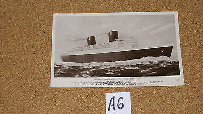 Postcard. Used. Cunard White Star Liner. Queen Elizabeth . 1949.isle Of Wight