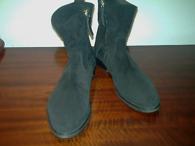 Mens TOPMAN Black Suede Leather Zip-up Chelsea Ankle Boots UK 10 (44).