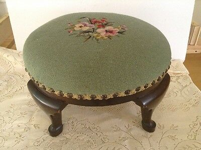 Antique  Queen Anne mahogany foot stool  Light Green needlepoint W Flowers