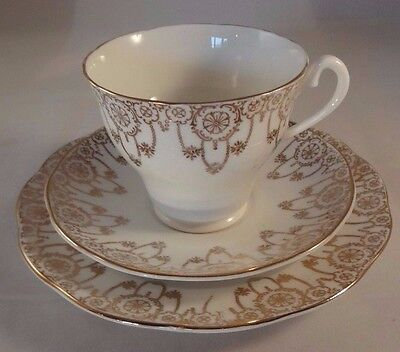 Salisbury China White Gold Trio Teacup Cup Saucer Side Plate Up To 2 Available