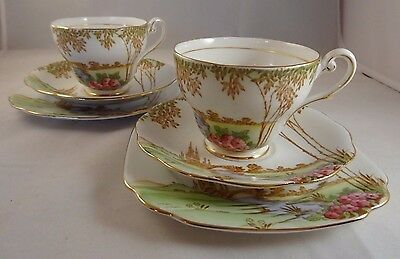 2 Royal Standard Meadowland Fine Bone China Trios Cups Saucers Side Plates VGC