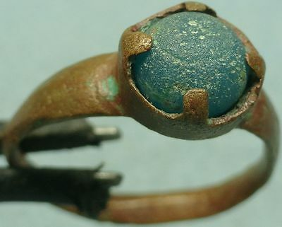 Ancient Bronze Ring W/ Blue Stone