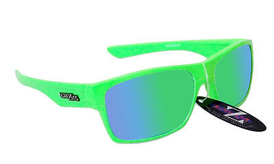 RayZor Uv400 424 Neon Green Framed Green Mirrored Lens Archery Sunglasses RRP£49