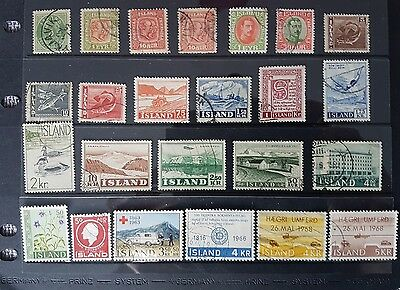 Small collection of 24 older Iceland stamps