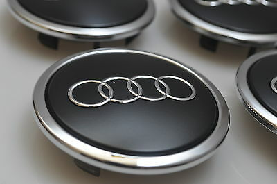 4 x GENUINE AUDI BLACK MATT  69mm ALLOY WHEEL CENTER CAPS OEM AUDI PART