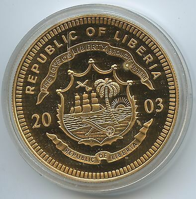 "GS747 - Liberia 5 Dollars 2003 ECU ""1 Euro Münze"" Multicolor Gold-Farbauflage"