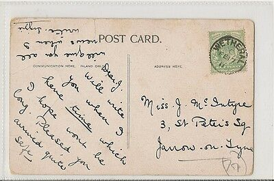 1911 card with thimble postmark Wetheral code C 17 Feb